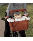 Elegant Wicker Dog Bike Carrier with Sun Shade by Solvit