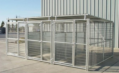 Galvanized Steel Dog Crate Heavy Duty 2 Run Dog Kennel 6