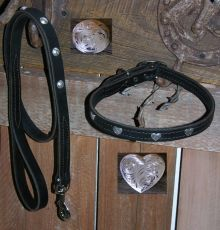 Western Dog Collar & Leash Set - Leather Construction