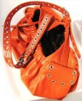 Leather Dog Sling with Nickel Clusters, Studs & Eyelets