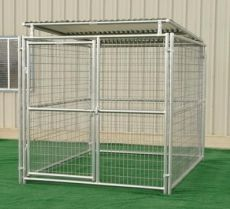 Single Run Outside Steel Kennels with Roof Shelter (CHOOSE KENNEL SIZE: 6' X 8' X 6'H w/Roof)