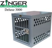 Strong Aluminum Dog Crates by Zinger Deluxe Series (SELECT ZINGER CRATE SIZE: DELUXE 3000  30L X 21W x 24H FRONT ENTRY)