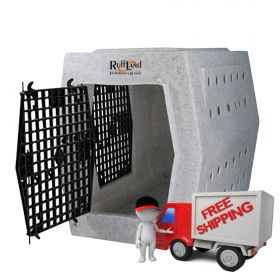 ROUGH TOUGH KENNELS AFFORDABLE DOG KENNEL (SELECT PLASTIC DOG CRATE SIZE: LARGE DOUBLE DOOR LEFT SIDE ENTRY)