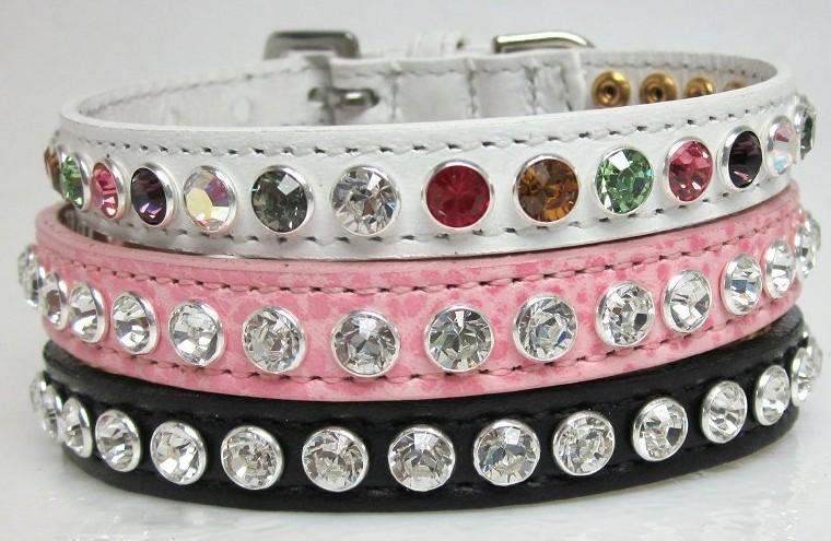 High Fashion Bling Leather Dog Collars Swarovski Crystals