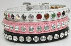 "High Fashion Bling Leather Dog Collars Swarovski Crystals (Single Row Medium Swarovski Crystals: 8 X 1/2"" Wide)"